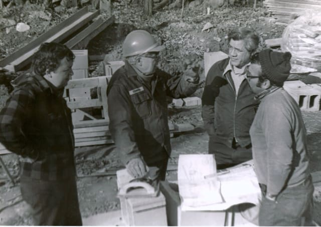 Member of the Pound Ridge Lions Club work on the construction of the Ambulance Corps building back in the mid-70s. From left: Don Stewart, John P. (Jack)  Crimmins, Murray Crandell and Charlie George.
