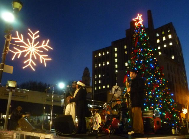 Roxy's All Star Revue performs Thursday as Yonkers celebrated the beginning of the holiday season with the annual tree lighting ceremony in Getty Square.