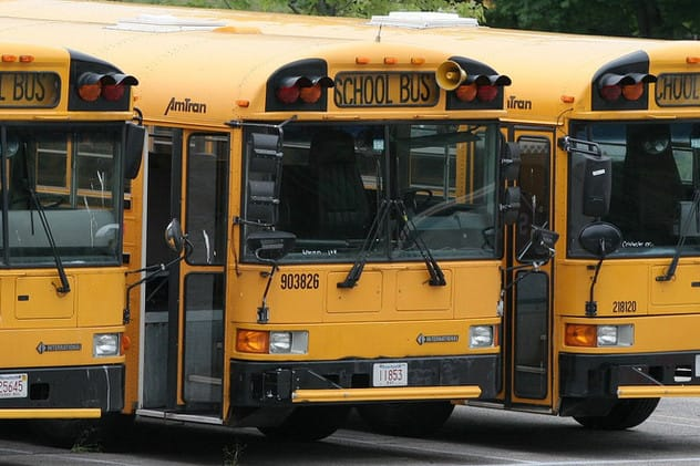 A Connecticut bus company was fined after the Environmental Protection Agency saw several school buses idling in lots.