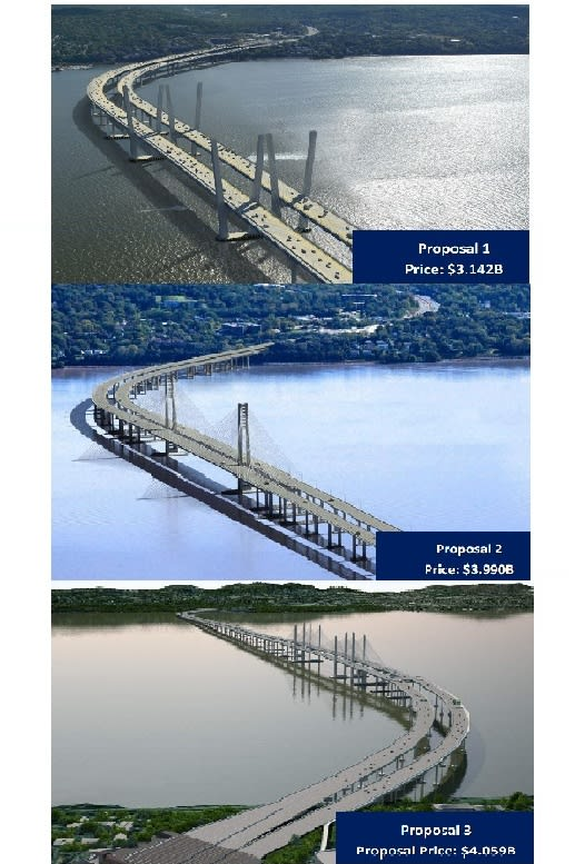 Gov. Andrew Cuomo's office released three Tappan Zee Bridge proposals on Wednesday.