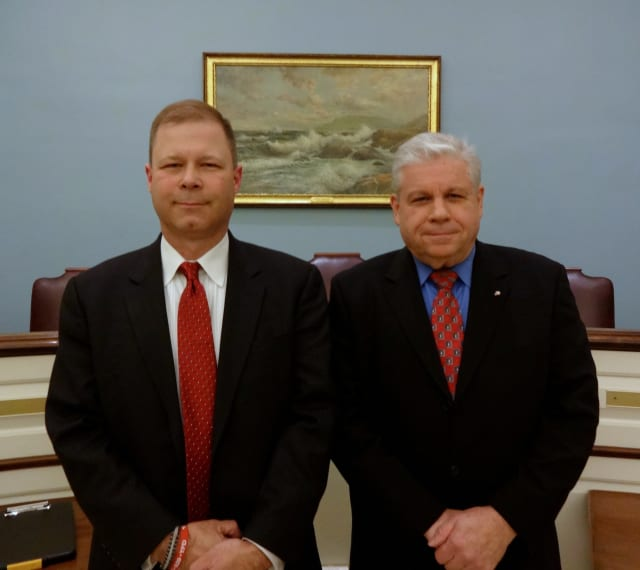 Steven Baker (left) and incumbent Ray Albanese met in Bronxville Village Hall to discuss their candidacy in the upcoming Eastchester Board of Fire Commissioners election.