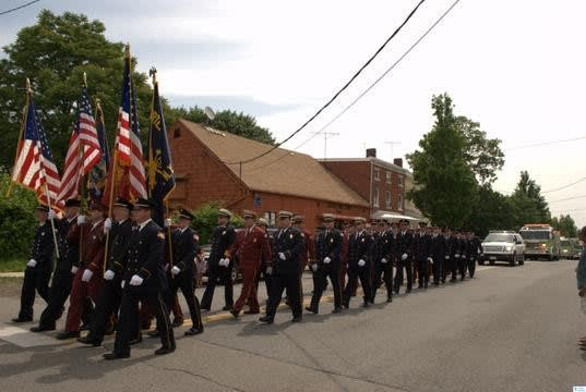 Local fire departments march through Verplanck.