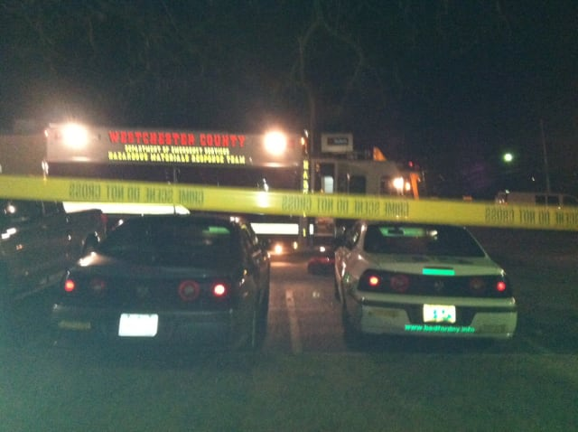 The Westchester County hazmat team is on the scene of a noxious smell at the Bedford Police Department on Tuesday evening.