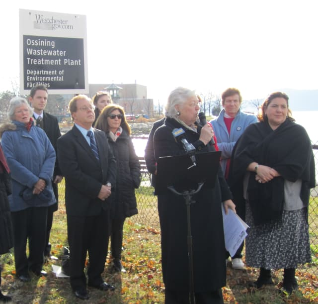 Assembly member Sandy Galef (D-Ossining) announces legislation Wednesday in front of the Ossining wastewater treatment plant that would ban hydraulic fracturing byproducts from being used in New York.