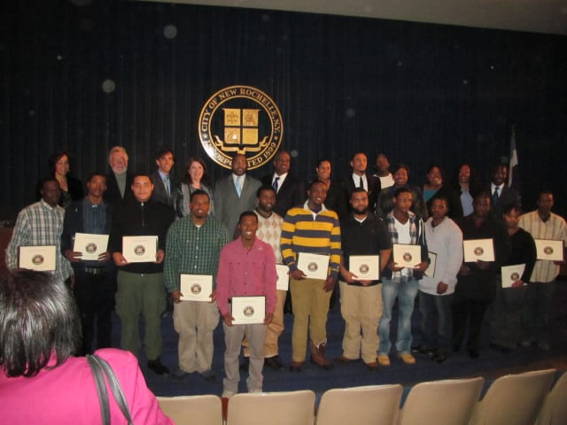 Fourteen youths graduated from the New York Youth Works Construction training program Friday in New Rochelle.