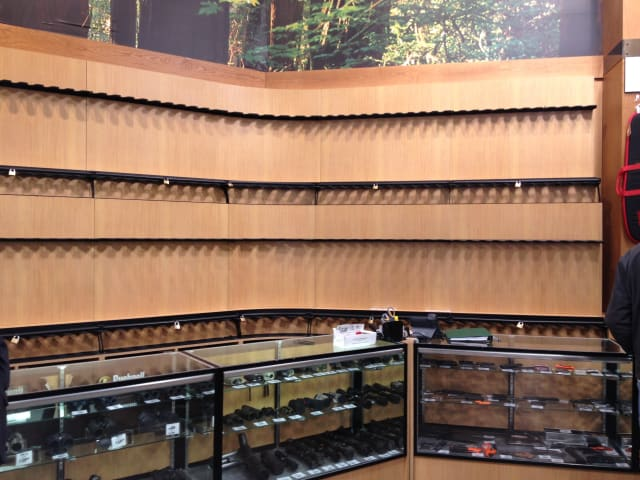 The gun section of Dick's Sporting Goods in Danbury was empty Tuesday after the retailer decided to halt gun sales at the location.