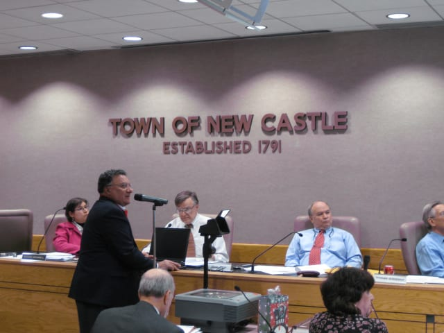 Chuck Napoli, front, presents his Chappaqua Hamlet Revitalization Concept plan to the New Castle Planning Board on Tuesday night at the New Castle Town Hall.