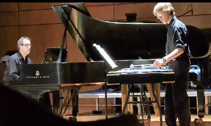 Hastings resident Jesse Guterman, right, performs new music last week in New London, Conn.