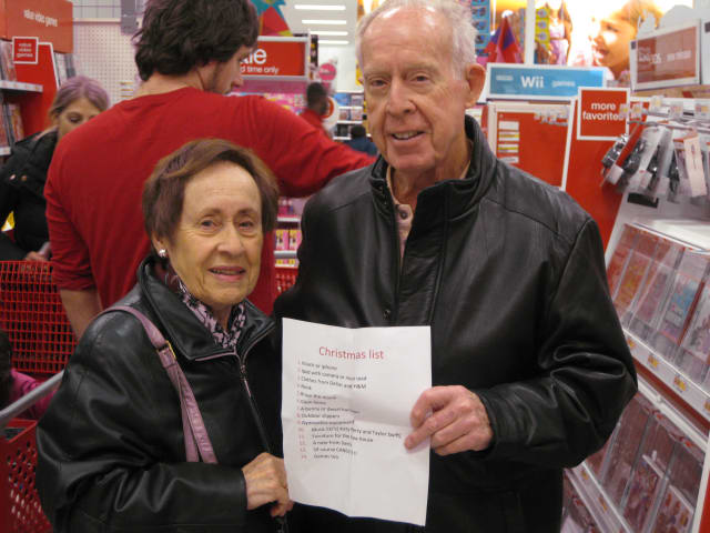 Florida residents Marie and Robert Boyd are visiting their children and grandchildren in Mount Kisco. They were doing some last-minute Christmas shopping at Target in Mount Kisco on Saturday morning.