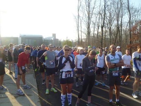 Runners line up for the Reservoir Run, Weston's first half-marathon, on Nov. 11.