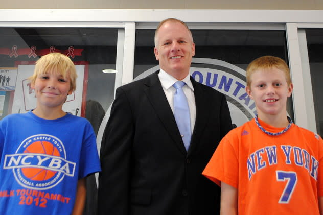 Blue Mountain Middle School student Daniel Cunningham, 11, right, with Principal John Owens and Emerson Alcock, 11. Daniel saved Emerson from choking.