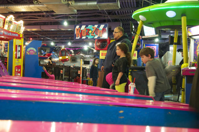 Children play skee ball at FunFuzion in New Roc City in New Rochelle.