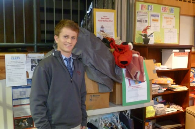 Reed Schultz, of New Canaan and a student at the Brunswick School, collected clothing and household goods during his second Thanks-For-Giving Clothing Drive.