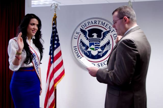 Yonkers resident and Miss Westchester Kristy Abreu became a U.S. citizen last week after taking the oath of allegiance at the U.S. Citizenship and Immigration Services office in Manhattan.
