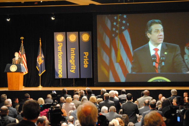 Gov. Cuomo address legislators and audience members at the State of the State (stock photo).