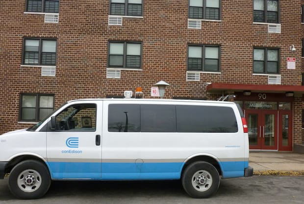 Con Edison officials were still on the scene at noon Wednesday after an early morning carbon monoxide leak sent five Greenburgh residents to the hospital.