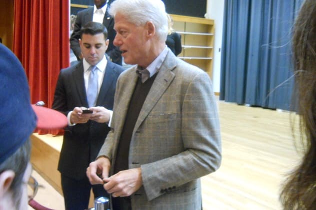 Bill Clinton, seen here visiting the Chappaqua Library in December 2011, has been named the 2013 Father of the Year.