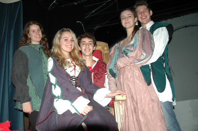 """From left, cast members Nola Donkin, senior at John Jay High School; Cat Tron, eighth-grader at Fox Lane Middle School; and John Jay High School seniors John Anthony Loffredo, Carly Dieck and Yanni Metaxa at a rehearsal for """"Once Upon a Mattress."""""""