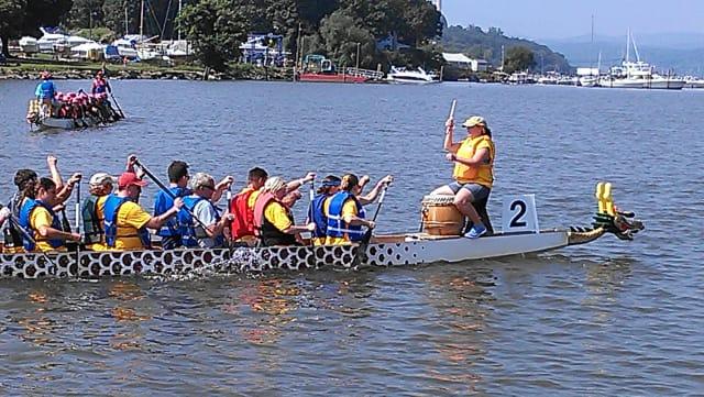 Dragon Boat racers at the 2012 Peekskill Celebration.