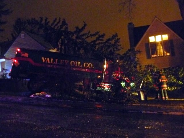 A Valley Oil truck slammed into trees in the front yard of a home at 8 Byrd Place in Yonkers on Monday evening.