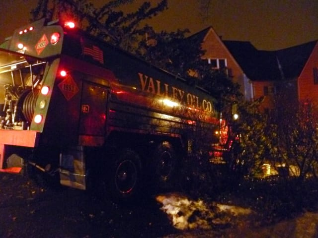 A Valley Oil Co. truck slammed into trees in the front yard of a home at 8 Byrd Place in Yonkers on Monday evening.