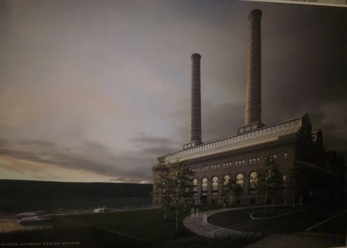 A conceptual drawing shows the proposed hotel and convention center at the Glenwood Power Station in Yonkers.