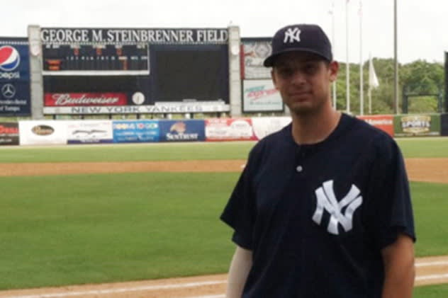 Yonkers resident Dan Fiorito at Steinbrenner Field in Tampa, where he signed a minor league contract with the Yankees.