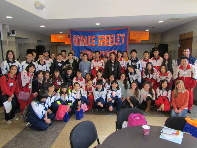 Students and administrators and teachers from Beijing 101 High School visited Horace Greeley High School on Monday.