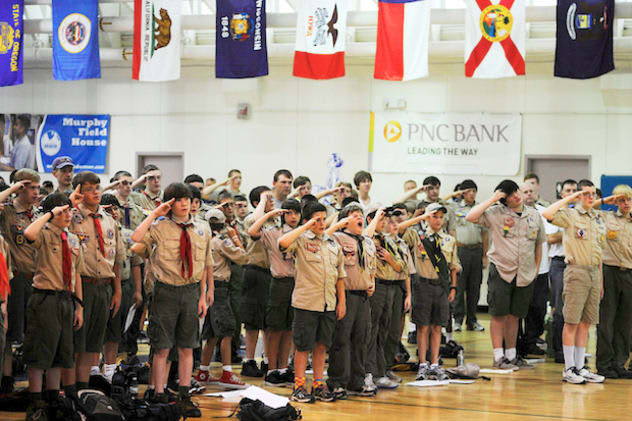 The Boy Scouts of America's executive board has put off its decision on whether to lift a ban on gay members. Some Scouts are seen here at a Texas meeting.