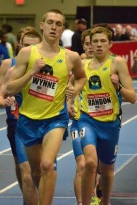New Canaan's James Randon, right, runs with Staples' Henry Wynne during the mile at the New Balance Grand Prix.