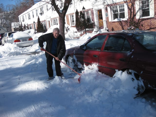 Shoveling snow was a common sight in Westchester County on Saturday, Feb. 9.