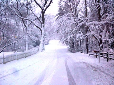 Darien in the snow.