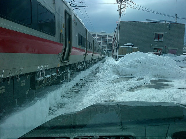 """""""Metro-North Railroad employees battled snow accumulations of up to three feet on the New Haven Line,"""" MTA wrote on its flickr pages."""