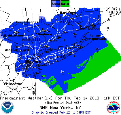 Westchester will receive several inches of snow Wednesday night into Thursday morning, according to the National Weather Service.