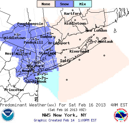 Snow showers are possible Friday night into Saturday morning in Westchester County, according to the National Weather Service.