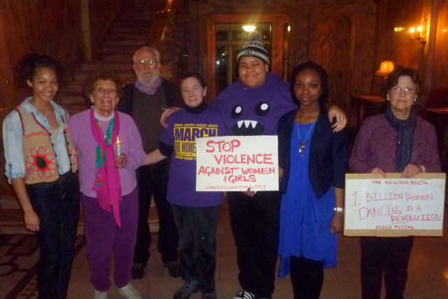 Social activist Connie Hogarth is joined by Manhattanville College students and other social activists for the One Billion Rising event.