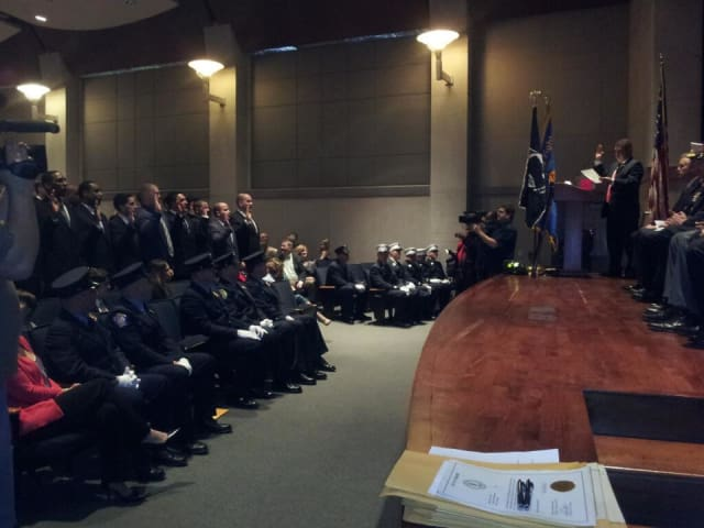 Thirty-two new firefighters were sworn in Friday at the Yonkers Riverfront Library.