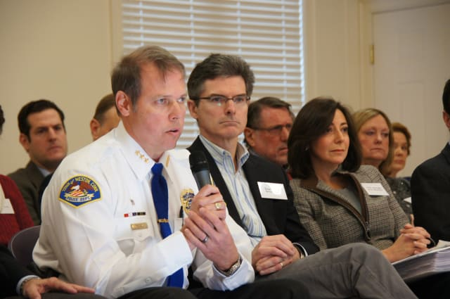"Weston police chief John Troxell and selectmen Dennis Tracey and Gayle Weinstein at a recent ""Speak Up Saturday"" meeting."