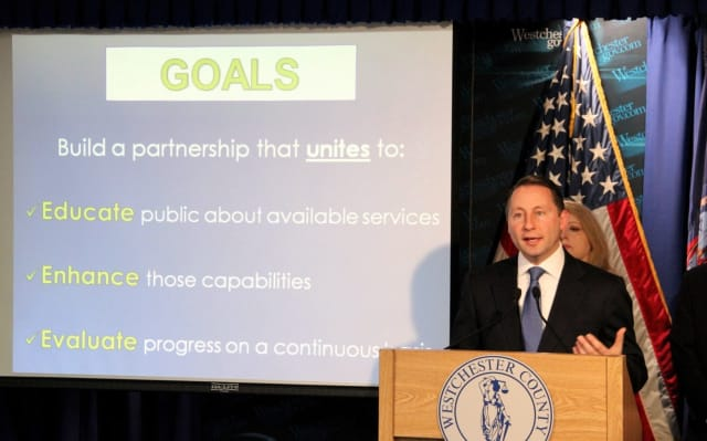 County Executive Robert Astorino announces the launch of the Safer Communities initiative Wednesday.