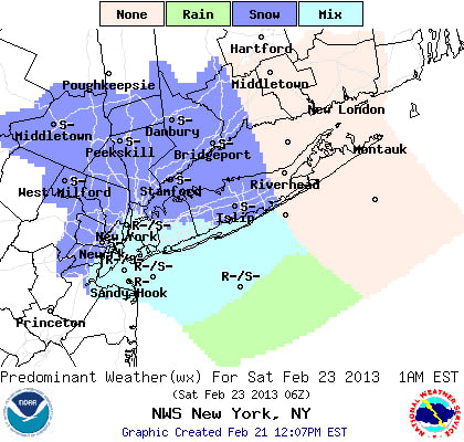 Snow and rain are predicted for Friday night into Saturday throughout Westchester County, according to the National Weather Service.