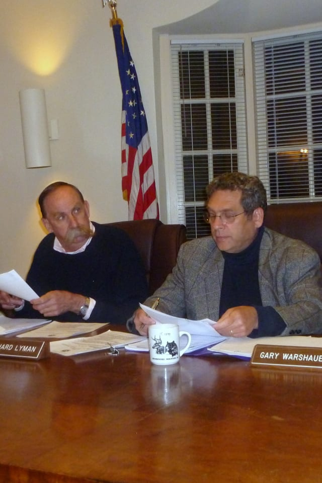 Pound Ridge Town Board member Dick Lyman, left, was the one dissenting vote for the Sustainability Energy Loan Program, while Supervisor Gary Warshauer, right, supported it.