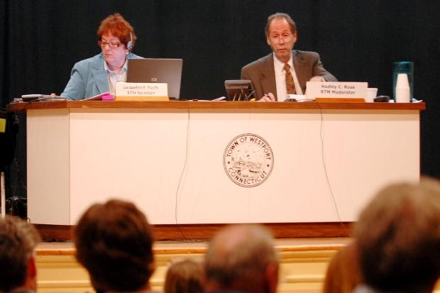 Westport Representative Town Meeting Moderator Hadley Rose, right, stepped down Tuesday night.