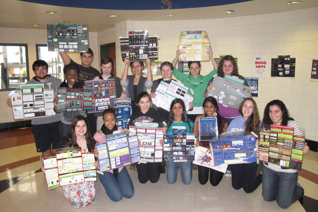 Ossining Science Research students display mini presentation boards at the Westchester Science & Engineering Fair in 2012.