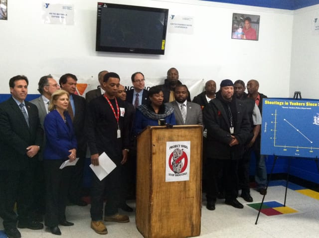 A coalition of state and city officials called on the state to provide steady funding for an anti-violence program Friday in Yonkers.
