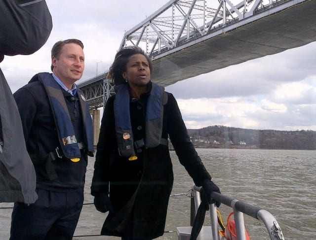 "County Executive Rob Astorino stands beneath Westchester-Rockland connector, the Tappan Zee Bridge, with ABC correspondent Deborah Roberts on ""20/20."""