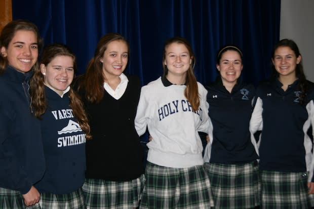 Erika Hantho, Jacqueline DeMarco,  Maggie Evans, Grace Jordan, Katie Rogan and Ellen Rote of School of the Holy Child in Rye were named to the NFHCA National Academic Squad.