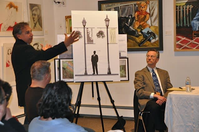 Landscape architect Louis Fusco presents the Green Streets Project at the Pound Ridge Library.