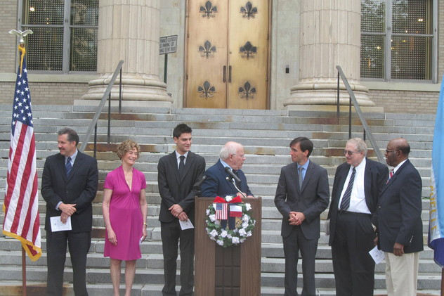Members of New Rochelle's Sister City Initiative Committee and Sister City Committee, as well as city staff, were on hand at the queen city of the sound's Bastille Day celebration last year in front of City Hall.