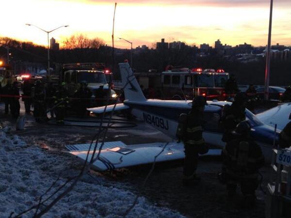 A photo of South Salem resident Michael Schwartz's plane after an emergency landing on the Major Deegan Expressway.