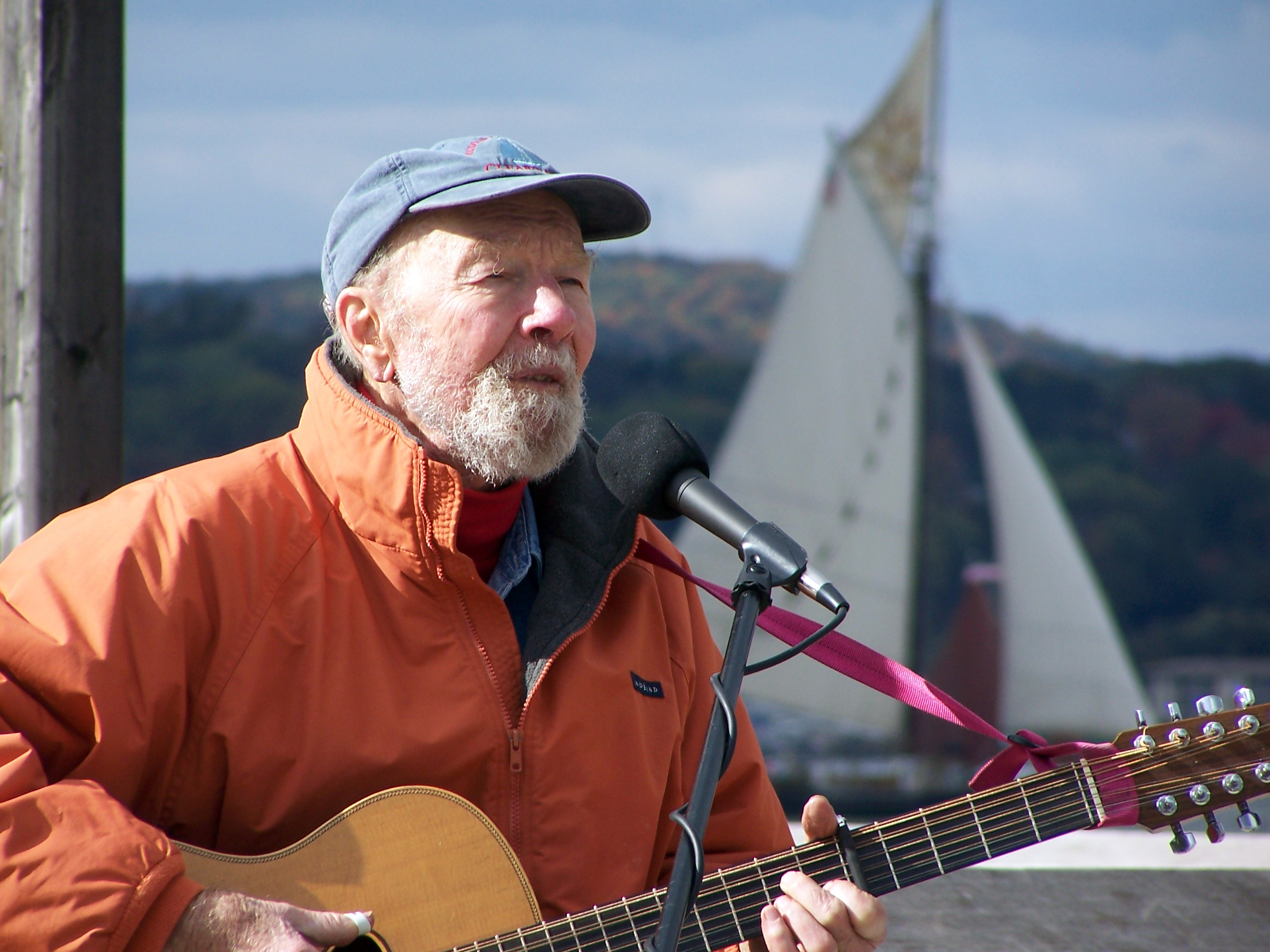 Pete Seeger performing at the Clearwater Festival, the festival he founded.
